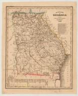 Neueste Karte von Georgia mit seinen Strassen, Eisenbahnen und Entfernungen, 1845.