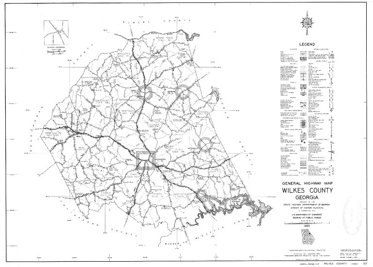 General Highway Map, Wilkes County, Georgia. 1953.