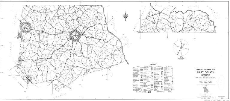 General Highway Map, Hart County, Georgia. 1953.