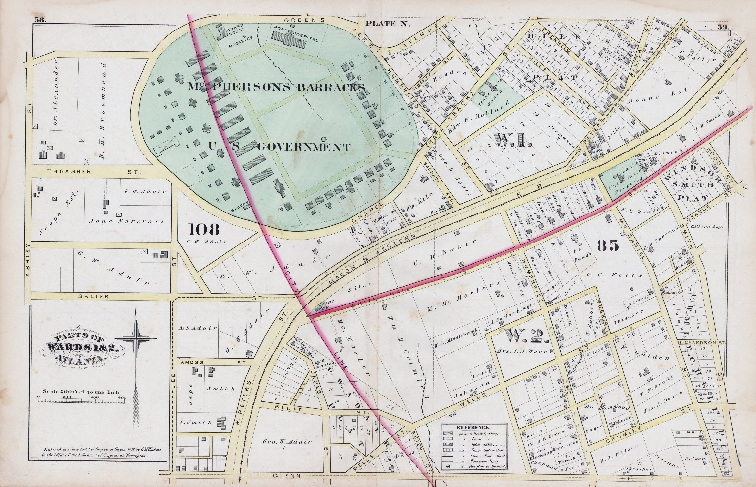 Plate N: Parts of Wards 1 & 2, Atlanta